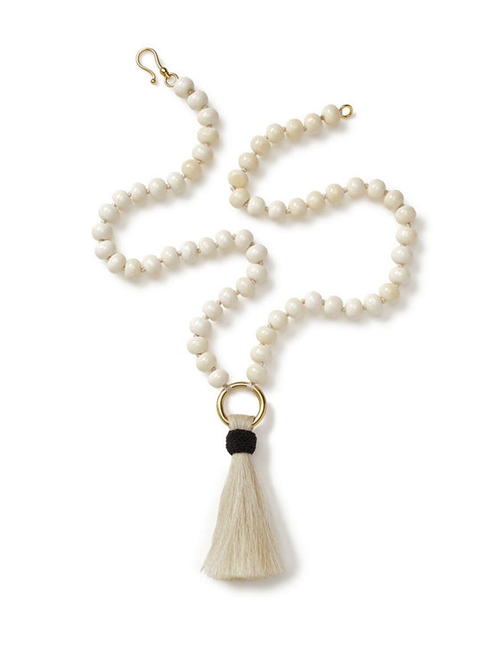 Long Bone Necklace with Ivory Horsehair Tassel