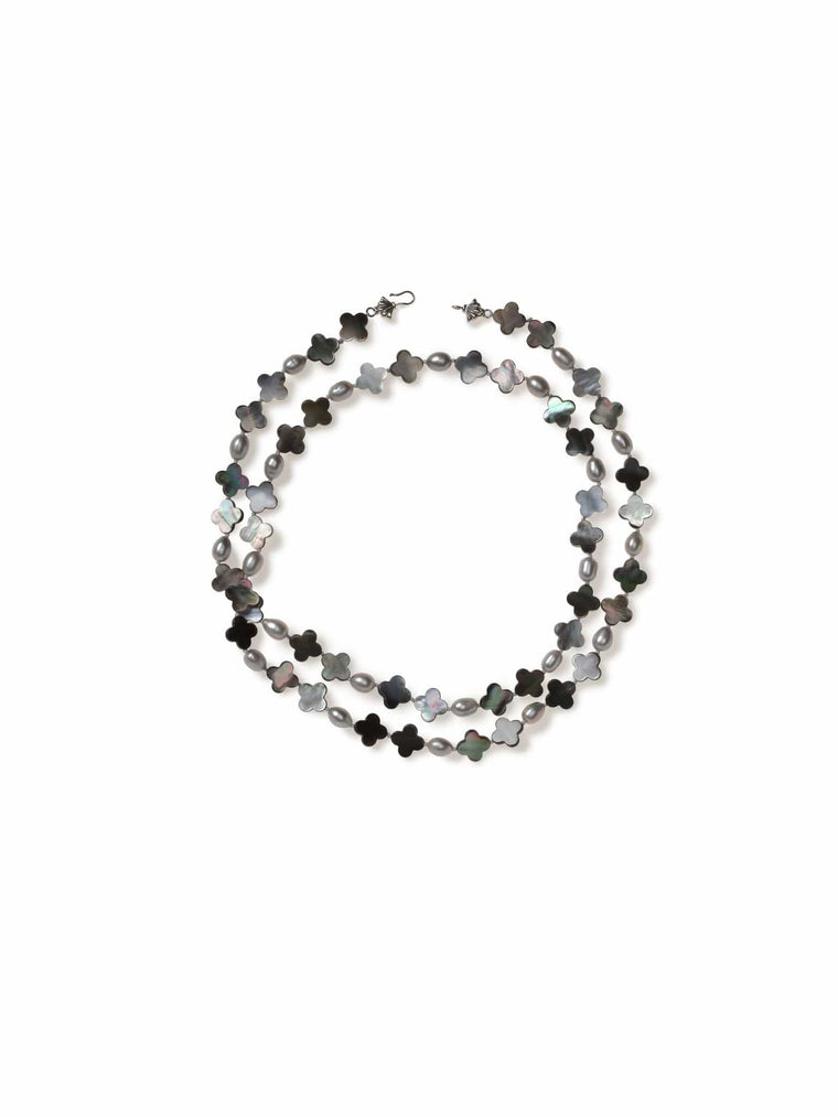 Grey Mother of Pearl and Freshwater Pearl Necklace