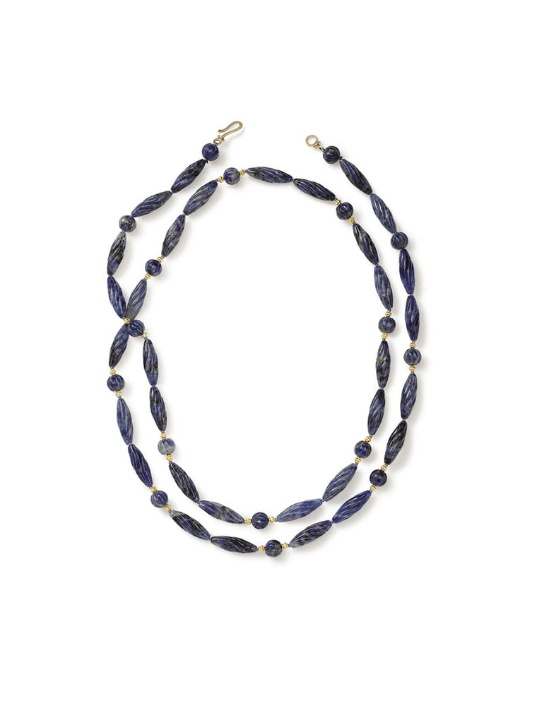 Carved Dumortierite Necklace with Gold Accents