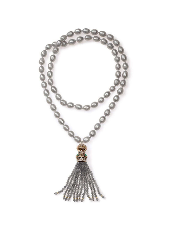 Long Grey Freshwater Pearl Necklace with Turkish Tassel