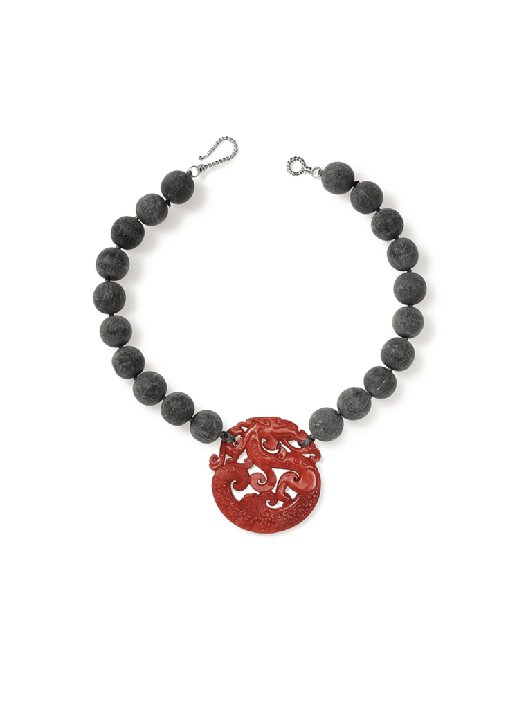 Grey Horn Bead with Red Jade Pendant Necklace