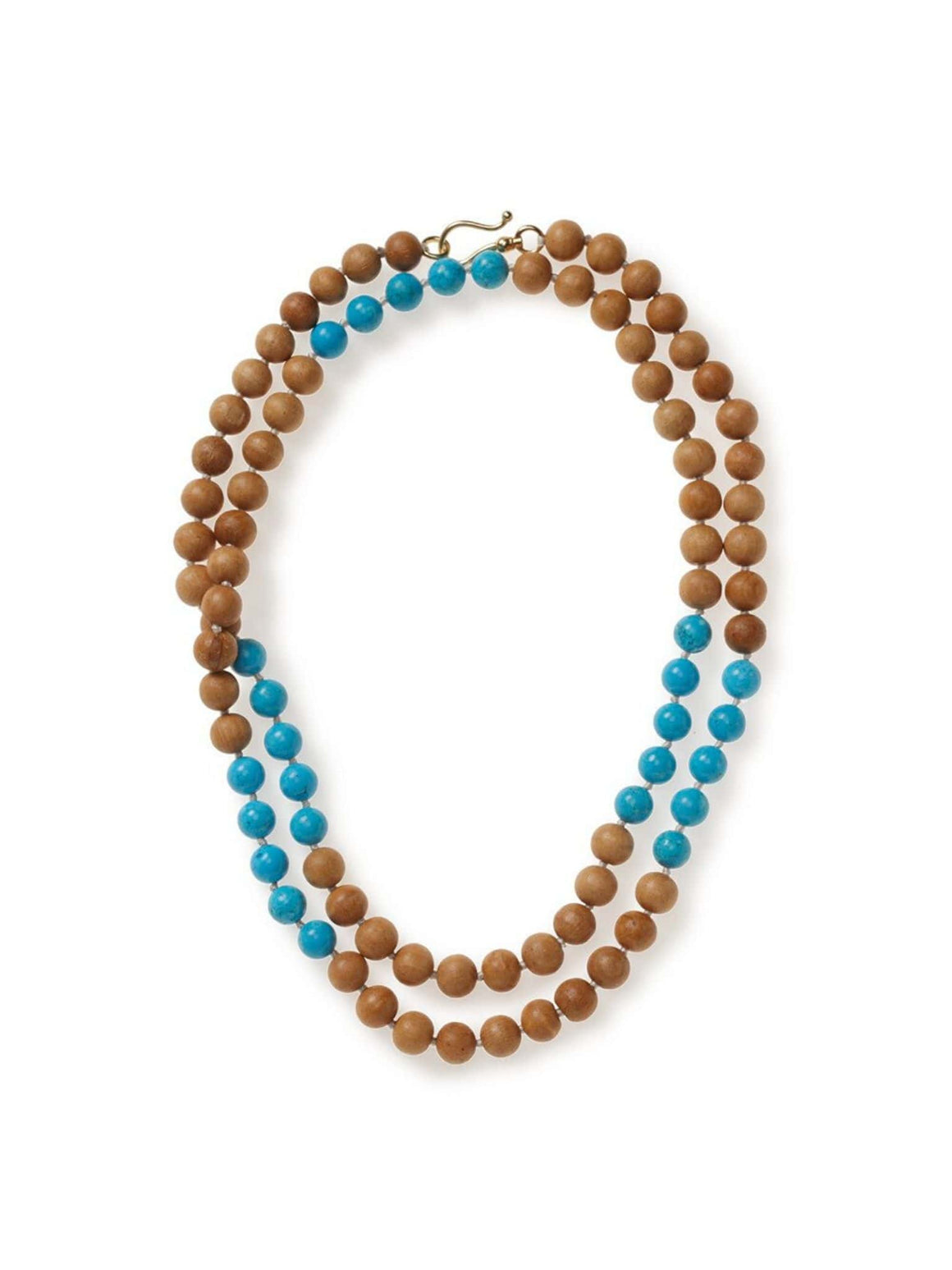 Walnut Wood and Turquoise Necklace