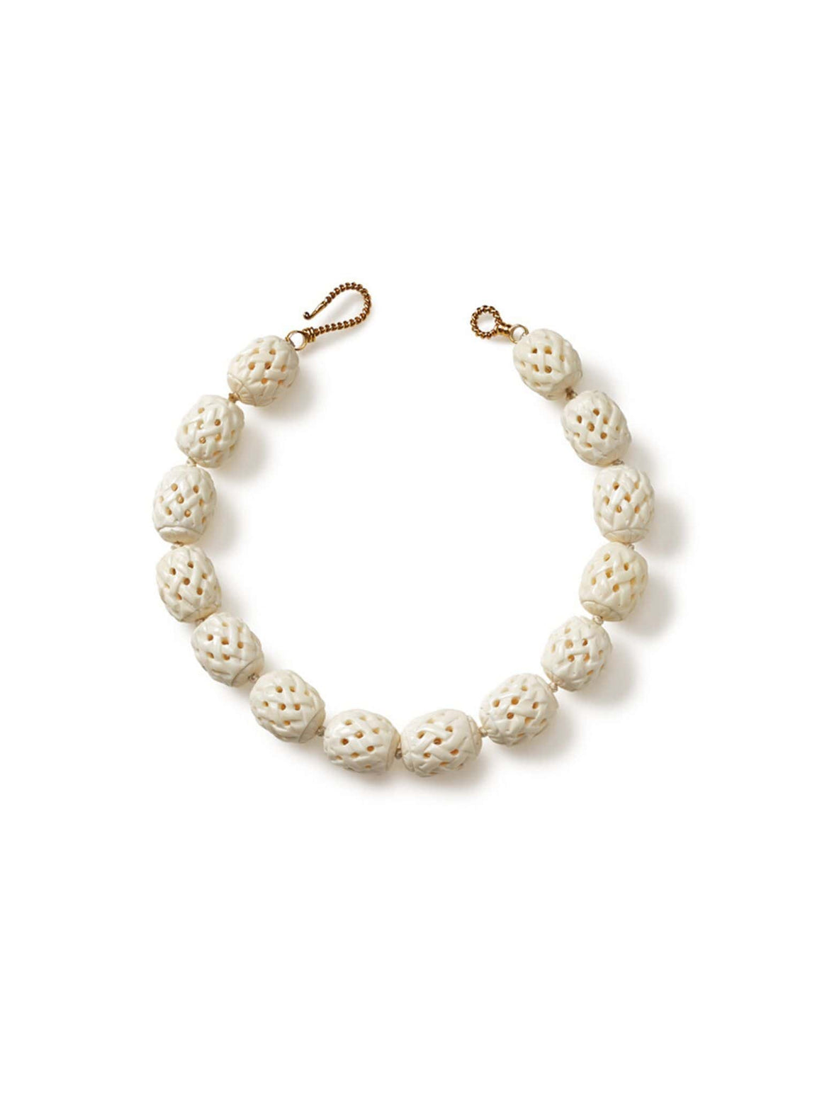 Ivory Color Bone Basket Weave Necklace