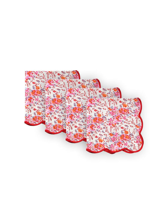 Pink Floral Scalloped Napkins (set of 4)