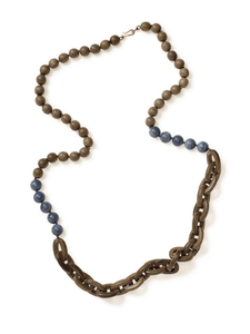 Brown Hardwood Chain Necklace with Blue Coral Accents