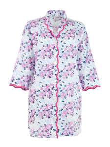 Lily-of-the-Valley Tailored Robe with Scalloping
