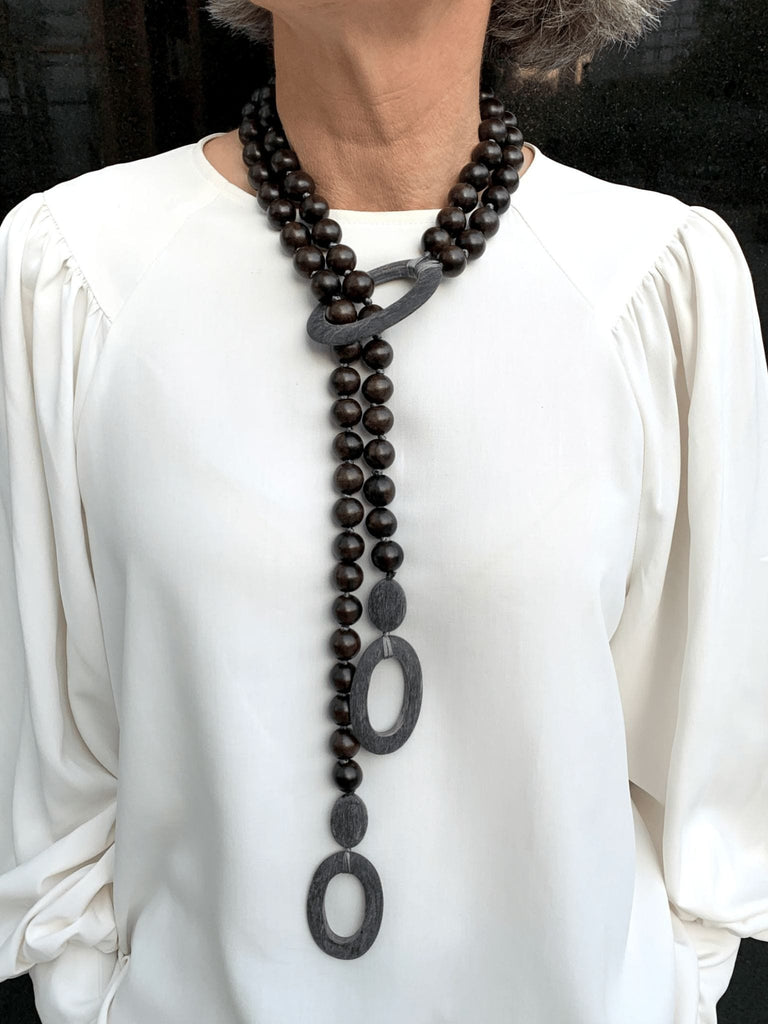 Ebony Wood with Grey Horn Necklace