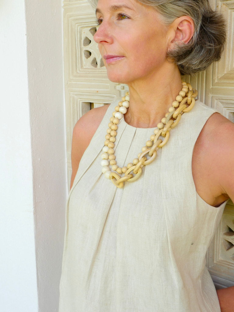 Ivory Marnalis Hardwood Chain Necklace
