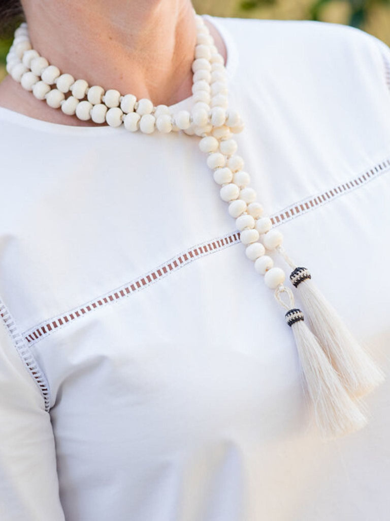 Ivory Buffalo Bone Lariat with Horsehair Tassels