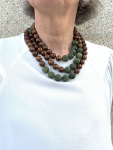Teak Wood and Carved Green Jade Wrap-around necklace