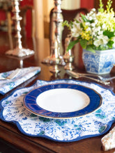 Load image into Gallery viewer, Blue Floral Block Print Scalloped Napkin and Placemat (Set of 4)