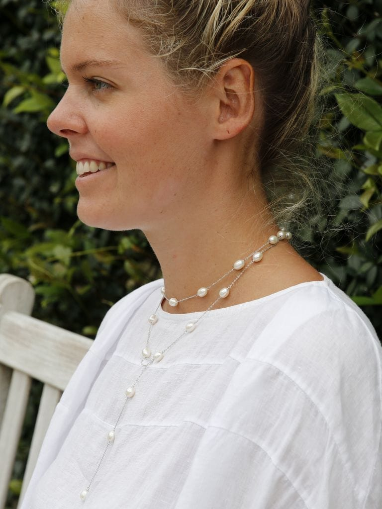 Freshwater Pearl Long wrap around with Sterling Silver