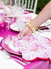 Load image into Gallery viewer, Pink Floral Scalloped Napkins (set of 4)