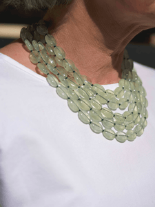 Multi Strand Prehnite Oval Necklace