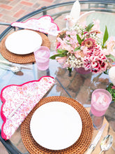 Load image into Gallery viewer, Pink Floral Scalloped Placemat and Napkin (Set of 4)