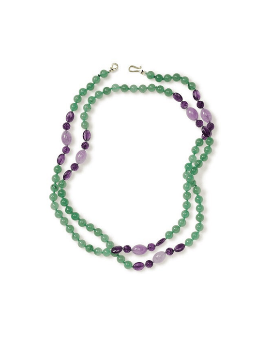 Aventurine and Amethyst Wrap-Around Necklace