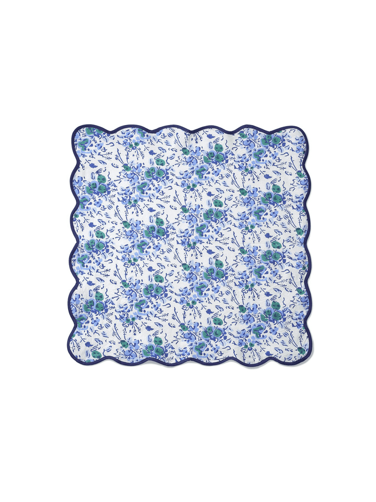 Blue Floral Block Print Scalloped Napkins (set of 4)