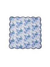 Load image into Gallery viewer, Blue Floral Block Print Scalloped Napkins (set of 4)