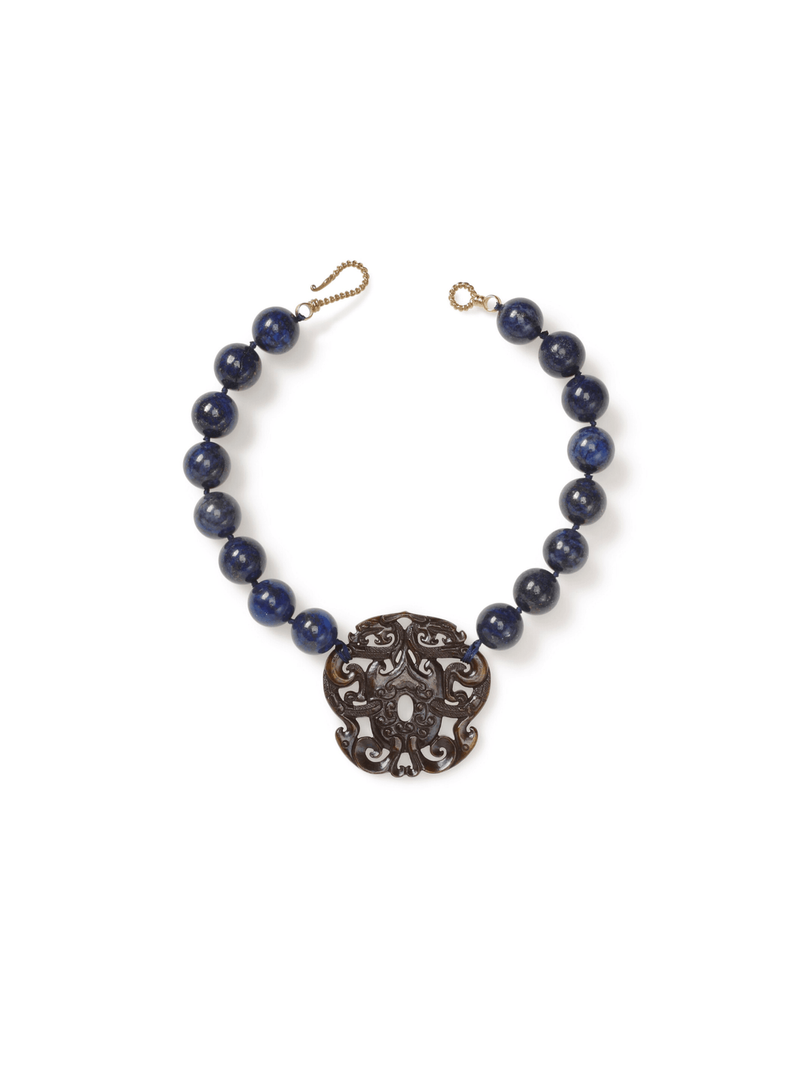 Blue Lapis Necklace with Brown Jade Pendant