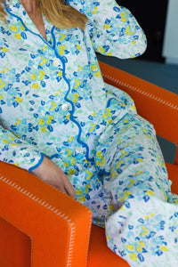 Blue / Yellow Floral Print Pajamas
