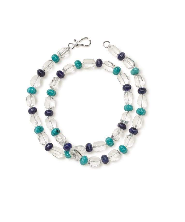 Crystal Quartz Nuggets, Lapis and Carved Howlite Necklace - Heidi Carey