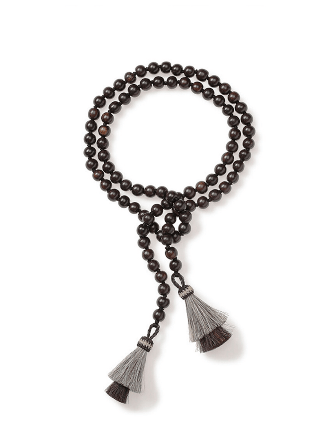Brown Ironwood Necklace with Horsehair Tassels