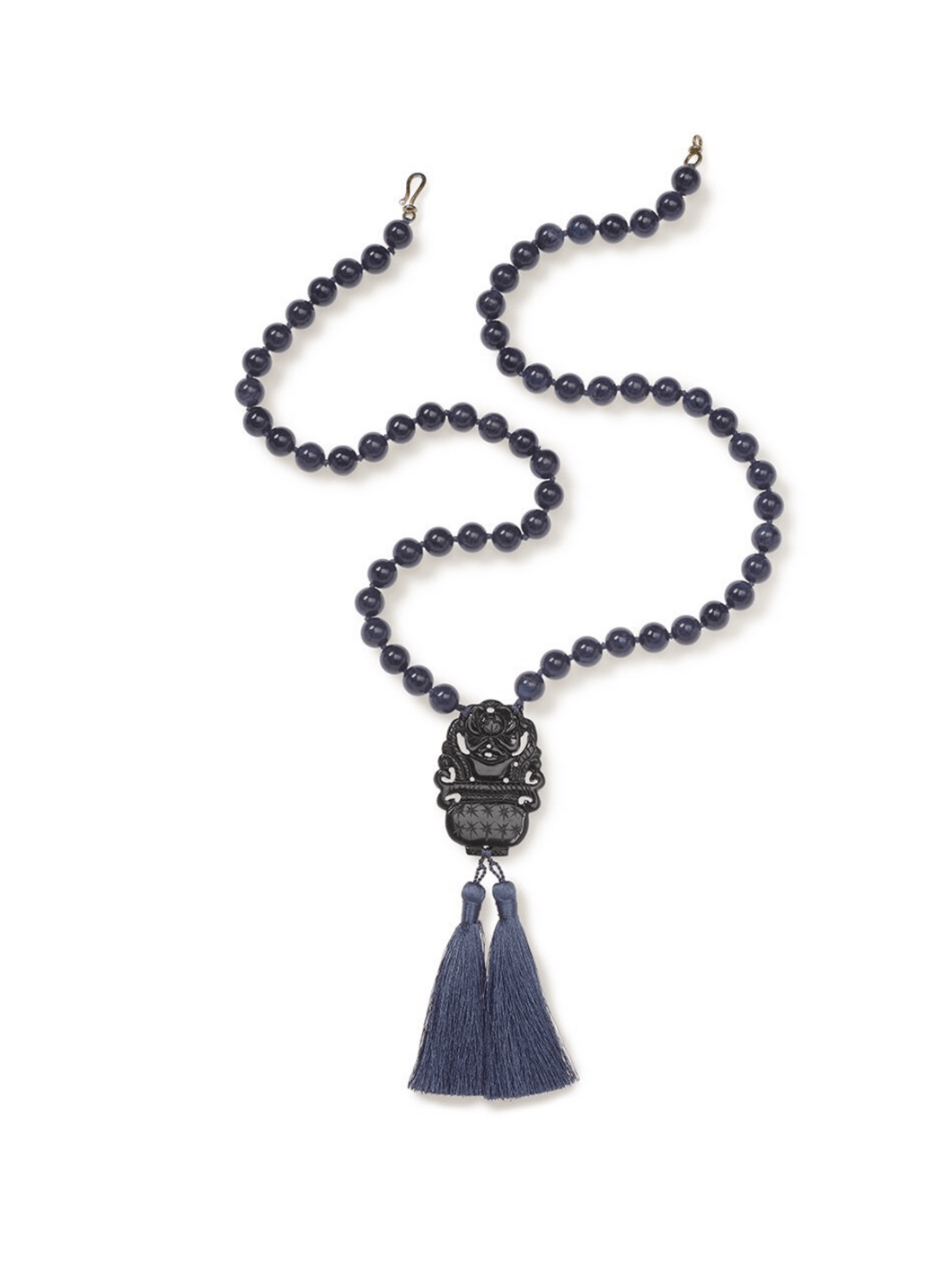 Deep Blue Dumortierite Necklace with Onyx Pendant and Blue Tassels