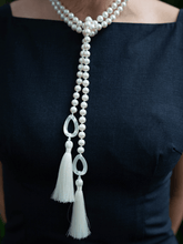 Load image into Gallery viewer, Freshwater Pearl with Mother of Pearl Lariat with Silk Tassel