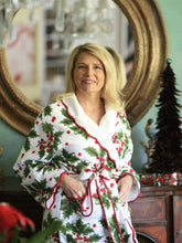 Load image into Gallery viewer, Holiday Print Fleece Lined Robe