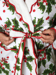 Holiday Print Fleece Lined Robe