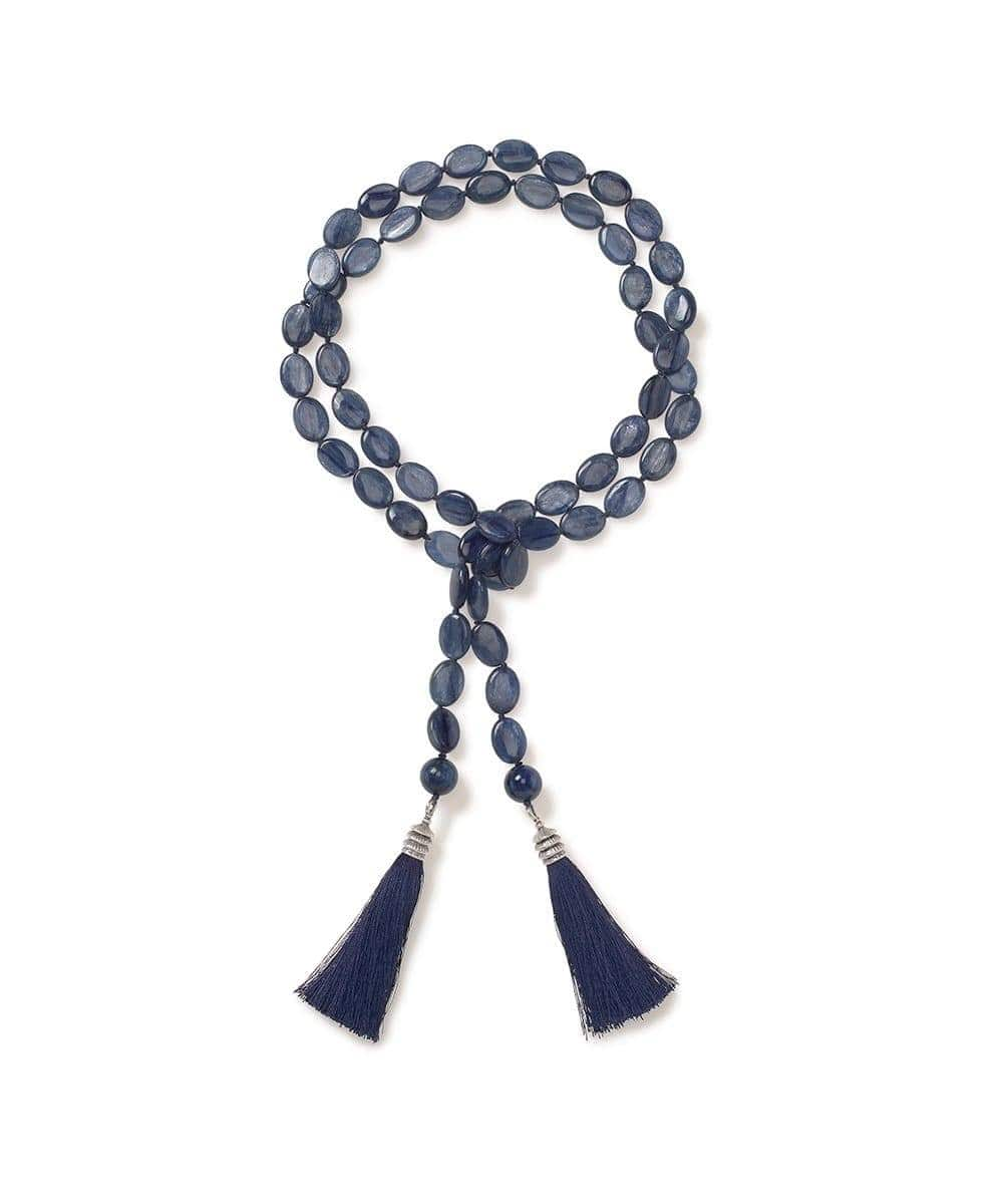 Translucent Tanzanian Kyanite Oval Lariat with Silk tassels - Heidi Carey