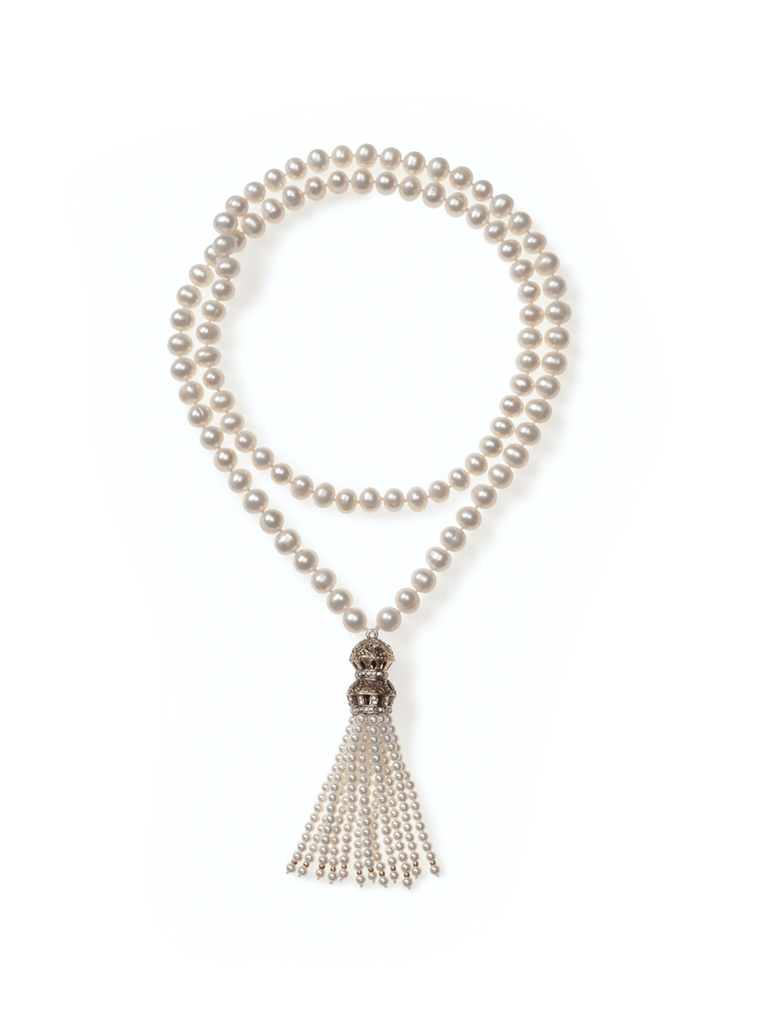 Long Freshwater Pearl Necklace with Turkish Tassel