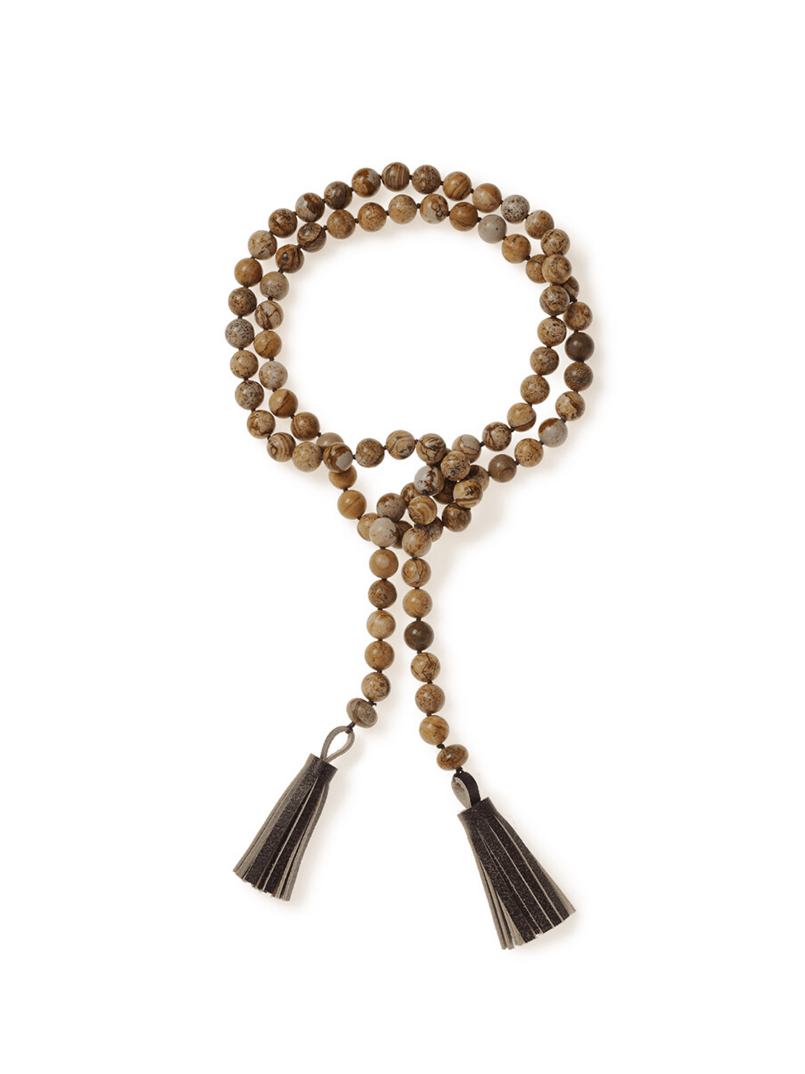 Picture Jasper Lariat Tassel Necklace