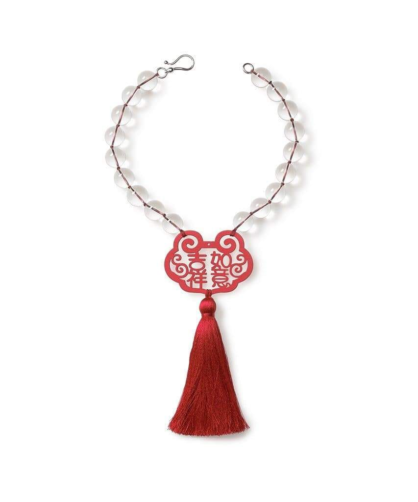 Crystal Quartz Red Good Fortune Necklace with Tassel - Heidi Carey