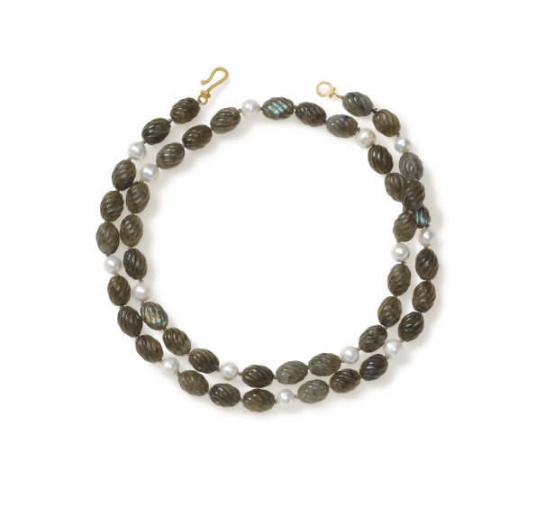 Carved Green Labradorite Tubes and Pearl necklace