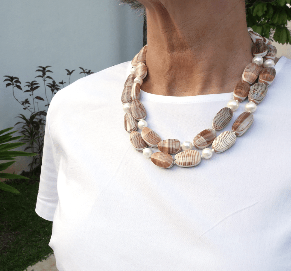 Freshwater Pearl and oyster shell nugget Necklace - Heidi Carey