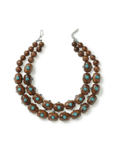 Load image into Gallery viewer, Two Strand Wood and Turquoise Necklace