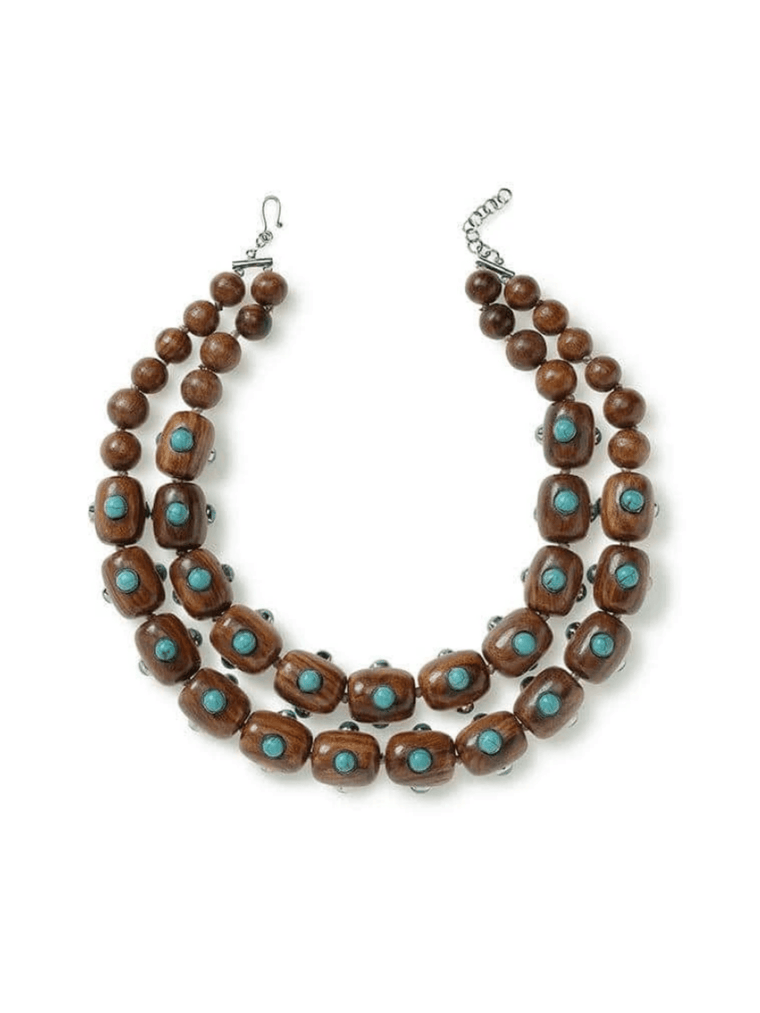 Two Strand Wood and Turquoise Necklace