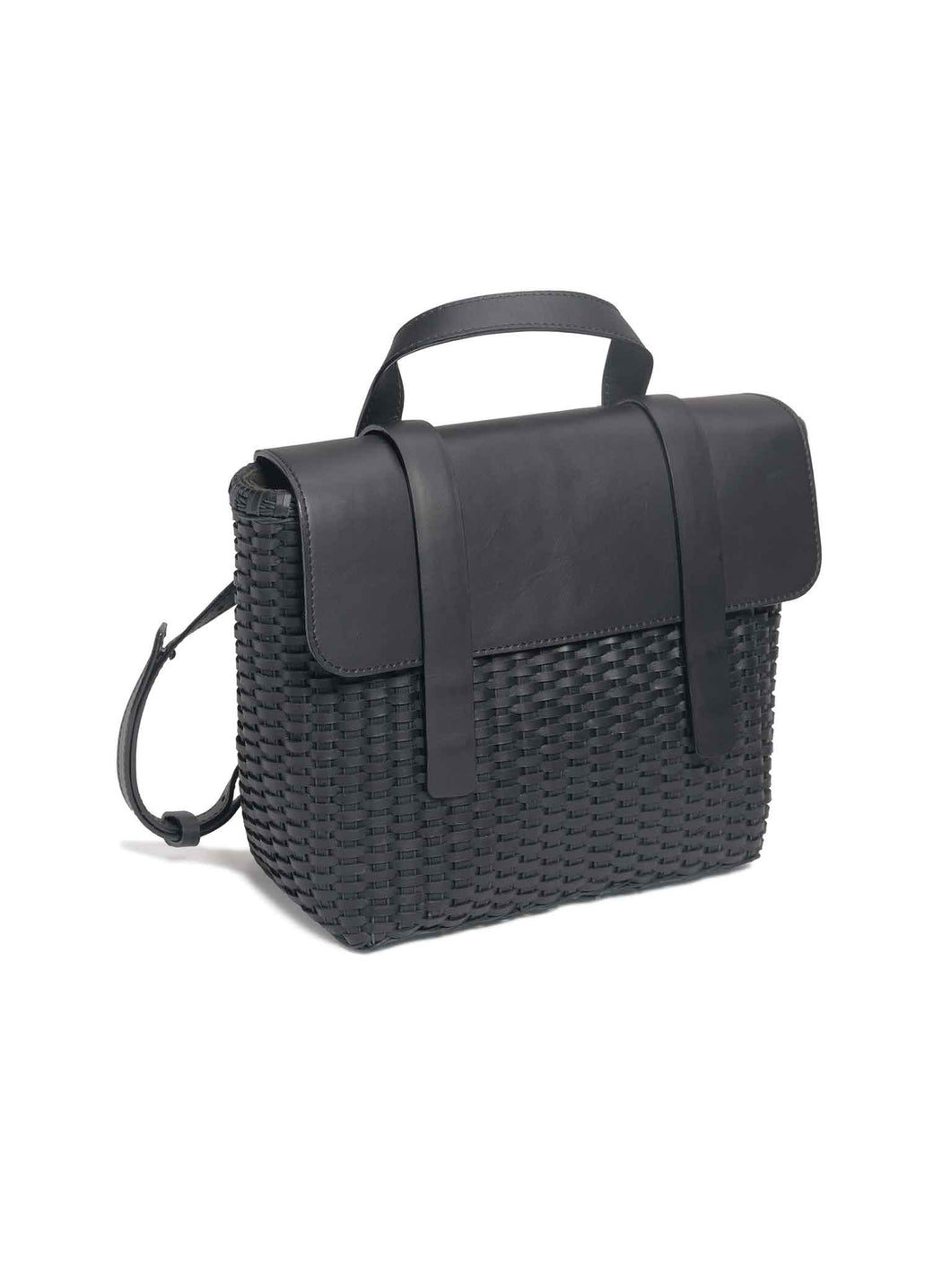 Black Leather Woven Freehand Bag