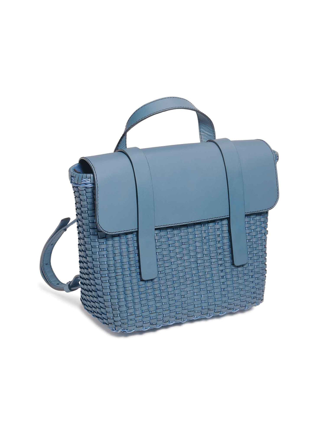 Blue Woven Leather Freehand Bag