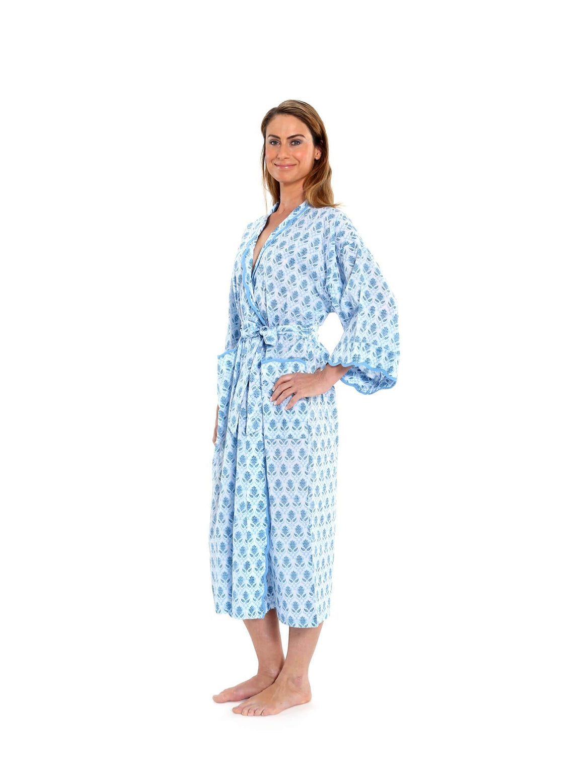 Blue Block Print Kimono Robe with Scalloping