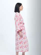 Load and play video in Gallery viewer, Pink Floral Kimono Robe with Scalloping