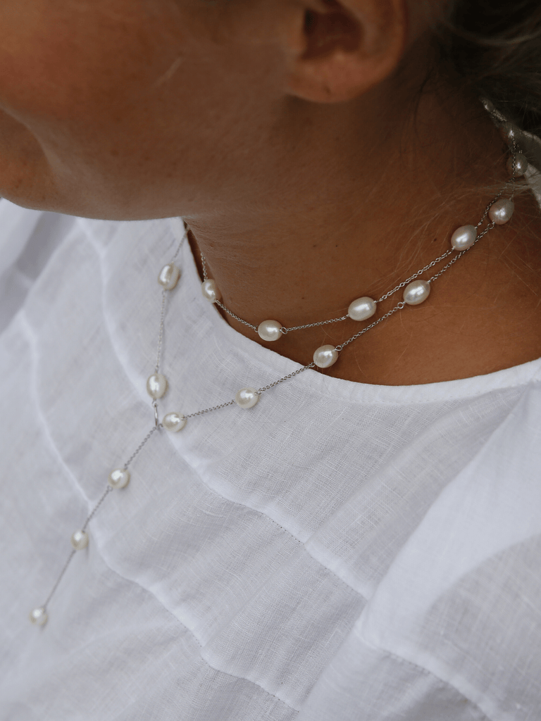 Freshwater Pearl with Sterling Silver Loop Necklace