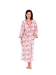 Pink Floral Kimono Robe with Scalloping