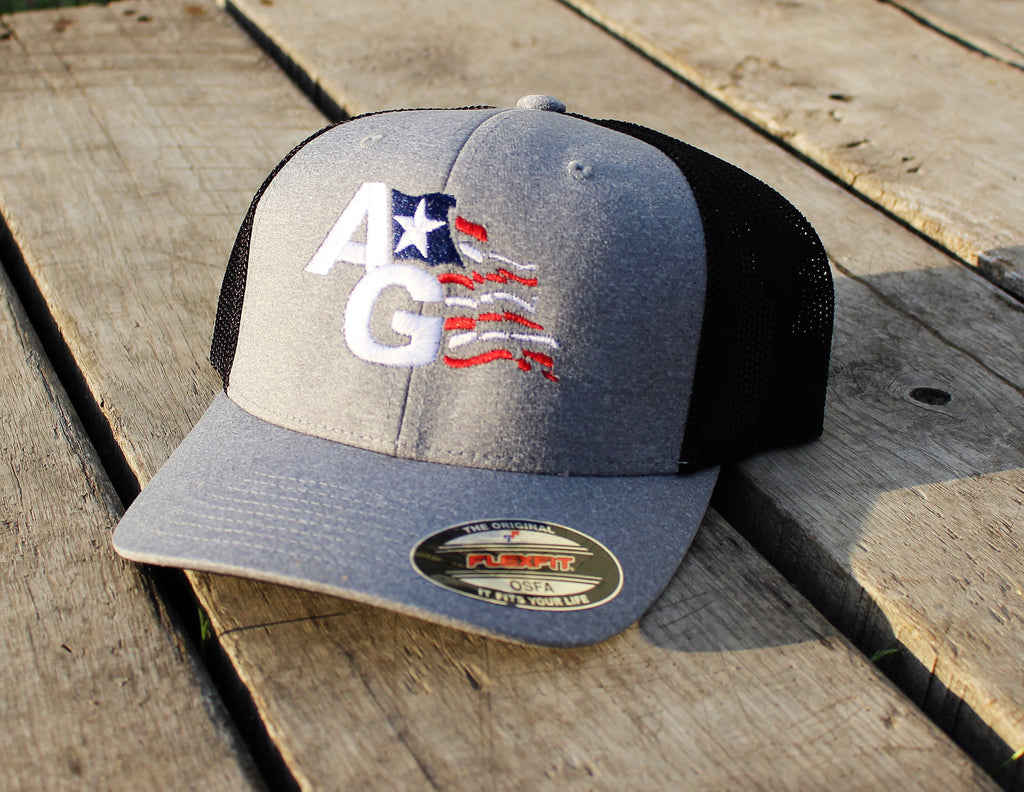 ccc0bb5ca48d8 Hats-AG Flag Logo Yupoong Flexfit® Melange Jersey Trucker Cap – 4American  Agriculture