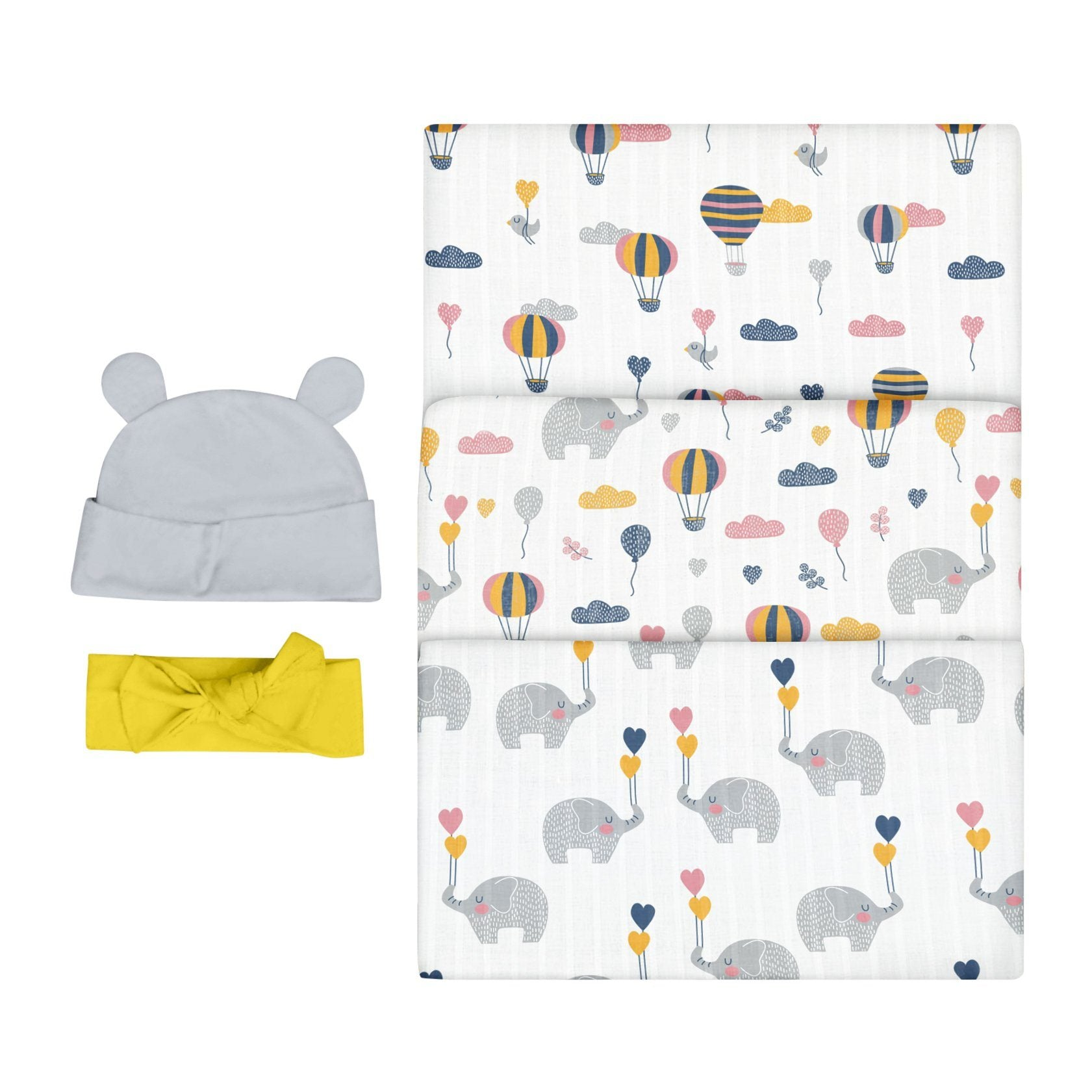 Bubzi Co Newborn Swaddle Set - Elephant Nursery Swaddles Bubzi Co