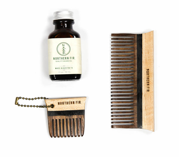 Northern Fir Gift Ideas Beard Oil and Wooden Comb Set