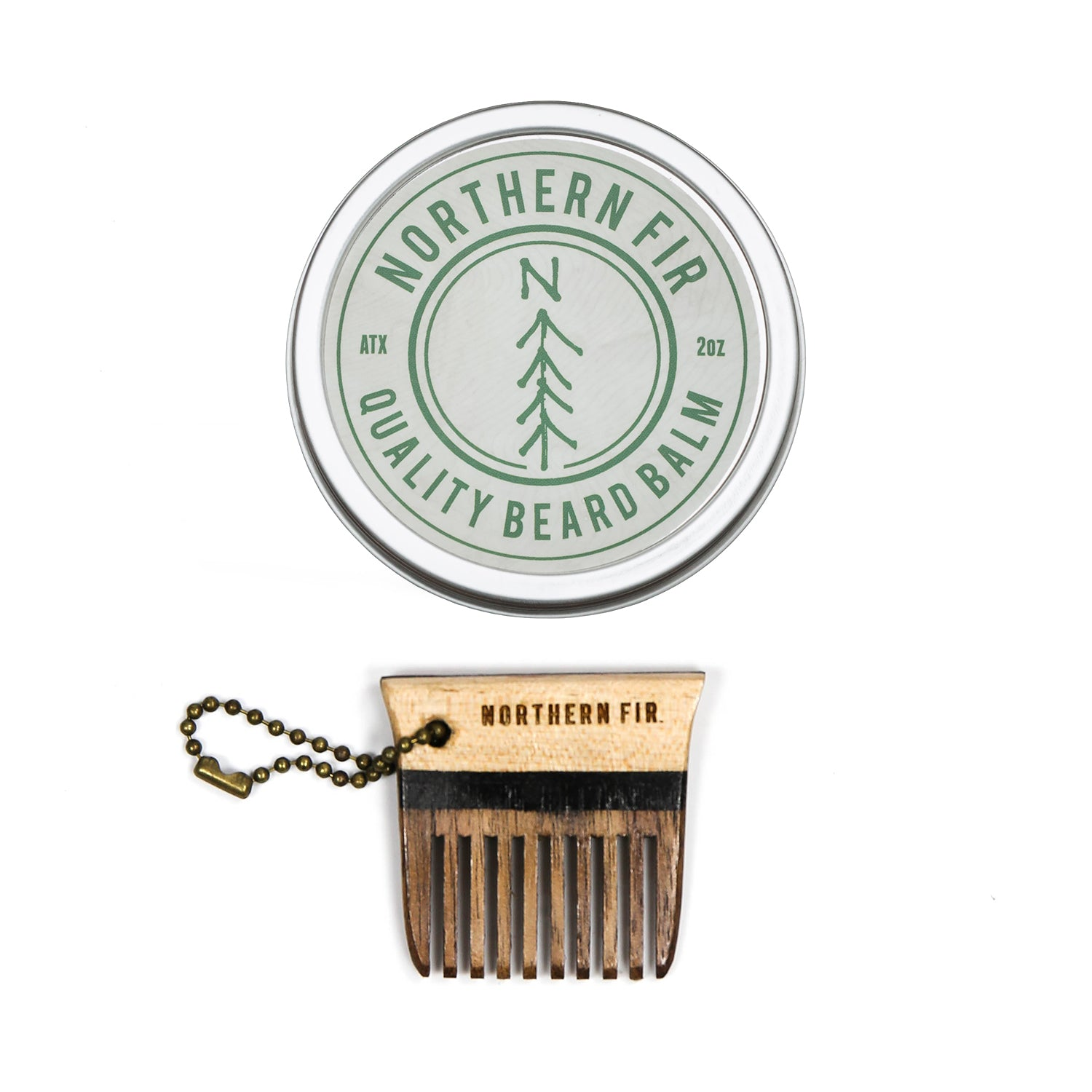 Beard Balm and Keychain Comb Set