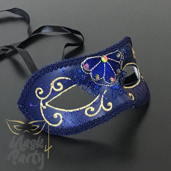 New - Masquerade - Lace & Rhinestones Venetian Eye - Blue