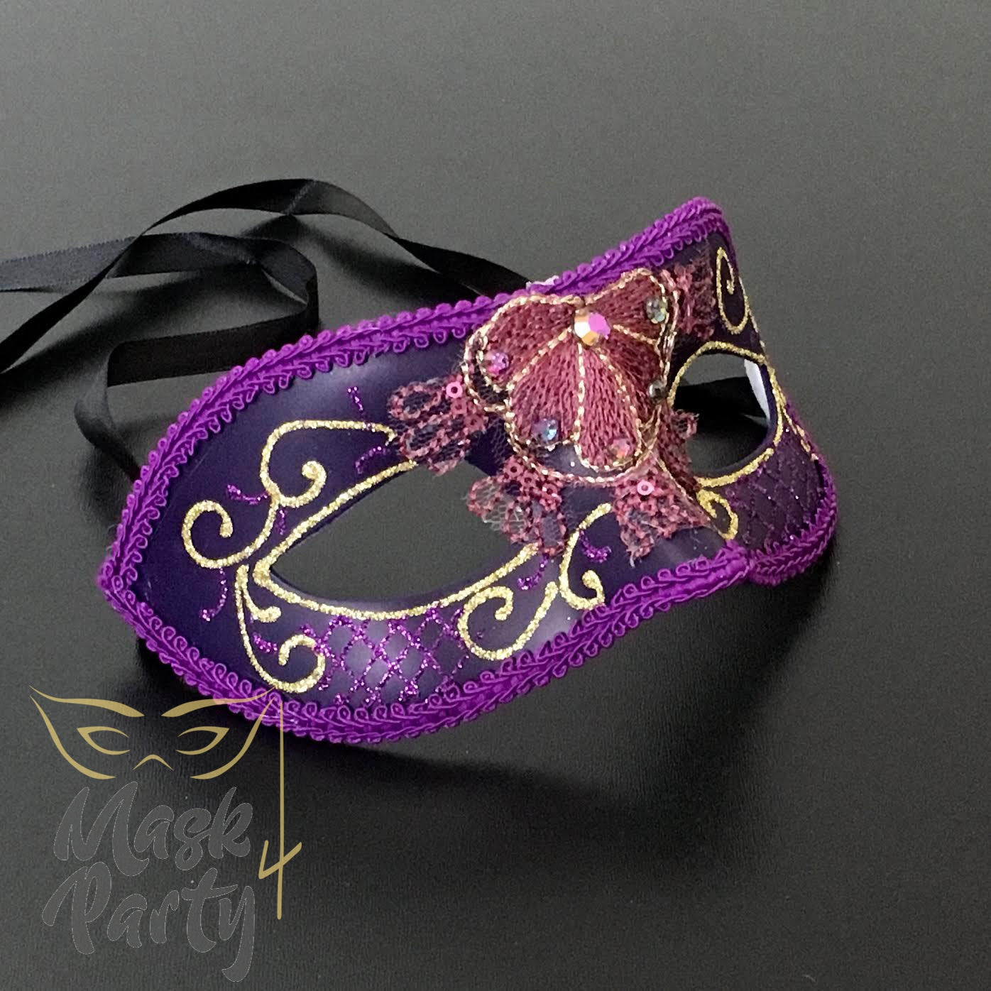 New - Masquerade - Lace & Rhinestones Venetian Eye - Purple